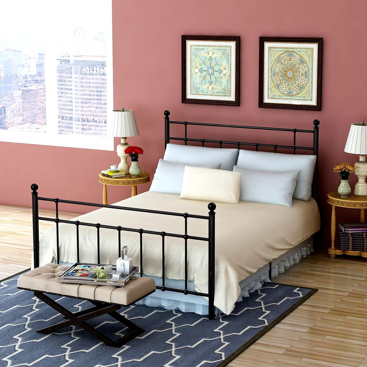 Metal Bed Frame with Steel Headboard and Footboard Slat Platform Mattress Foundation Double beds Box Spring No Assembly Double Beds Spring Replacement for Kids Adult Victorian Style Black Full Size