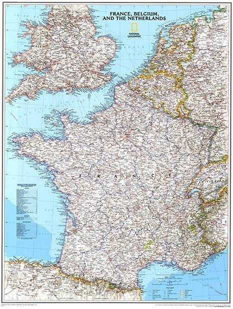 Cartina Del Belgio Da Stampare.Mappa Della Francia Belgio E Paesi Bassi Poster 23 X 30 In By National Geographic Amazon It Cancelleria E Prodotti Per Ufficio