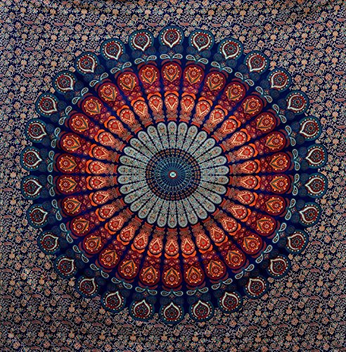 Queen Hippie Mandala Bohemian Tapestry Psychedelic Cotton Intricate Floral Designs Indian Traditional Bedspread Magical Thinking Large Tapestry