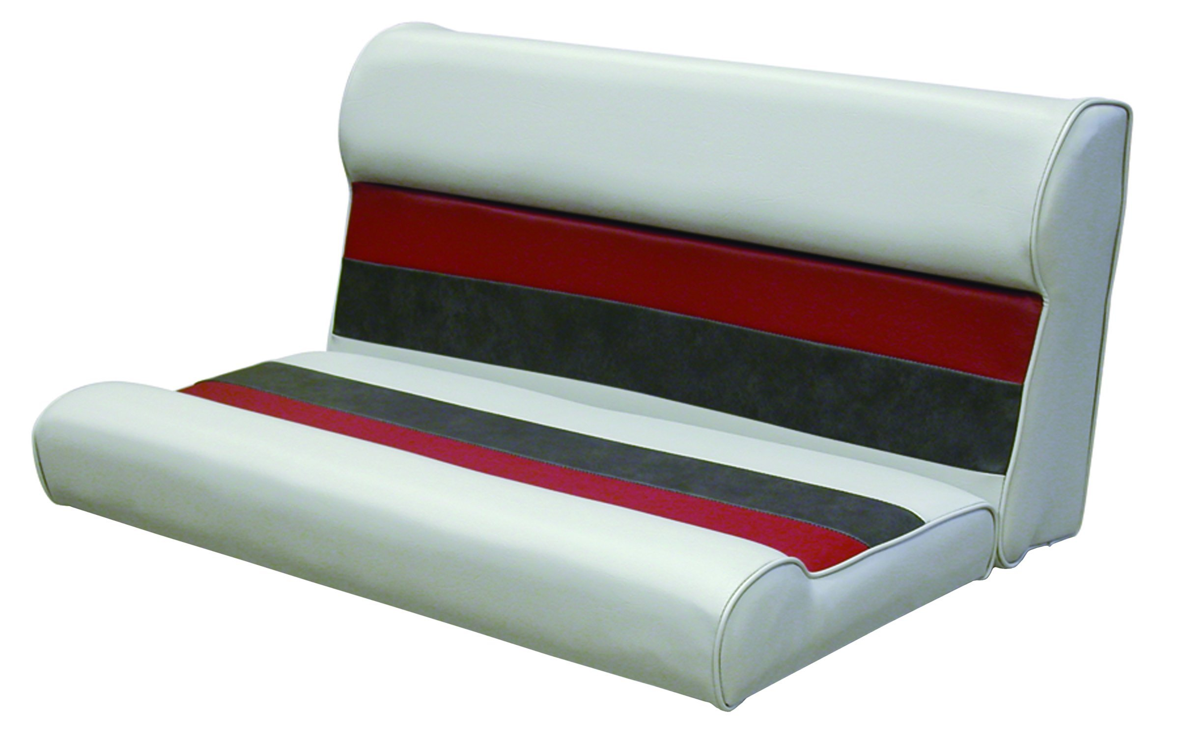 Wise 36-Inch Pontoon Bench Seat Cushion (Base Required to Complete), Gray/Red/Charcoal