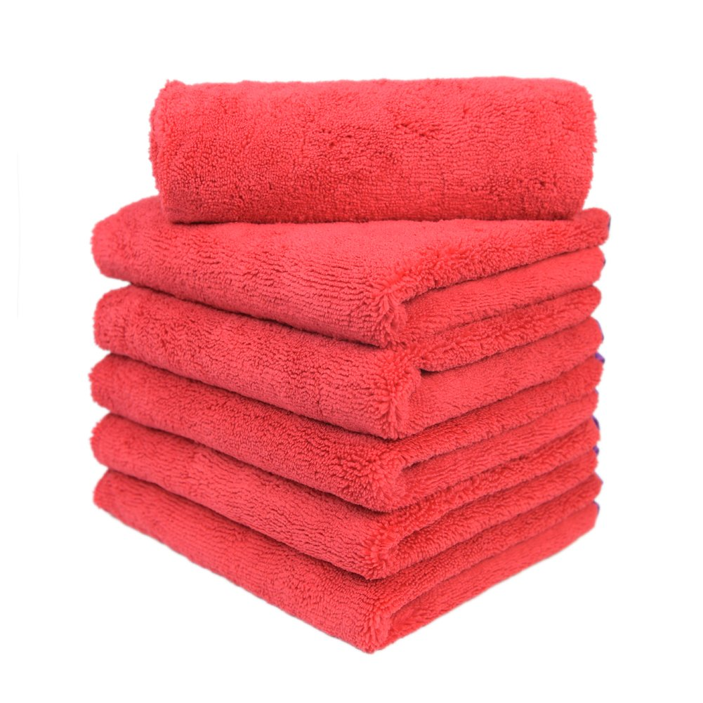 Carcarez Microfiber Car Wash Drying Towels Professional Grade Premium Microfiber Towels for Car 380 GSM 16 in.x 24 in. Pack of 6 Red