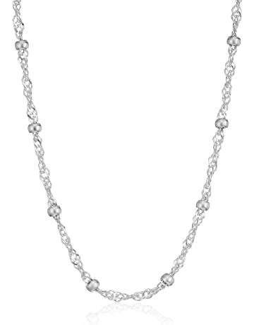 0f6ab4bb3 Amazon Essentials Sterling Silver Singapore Bead Chain Station Necklace