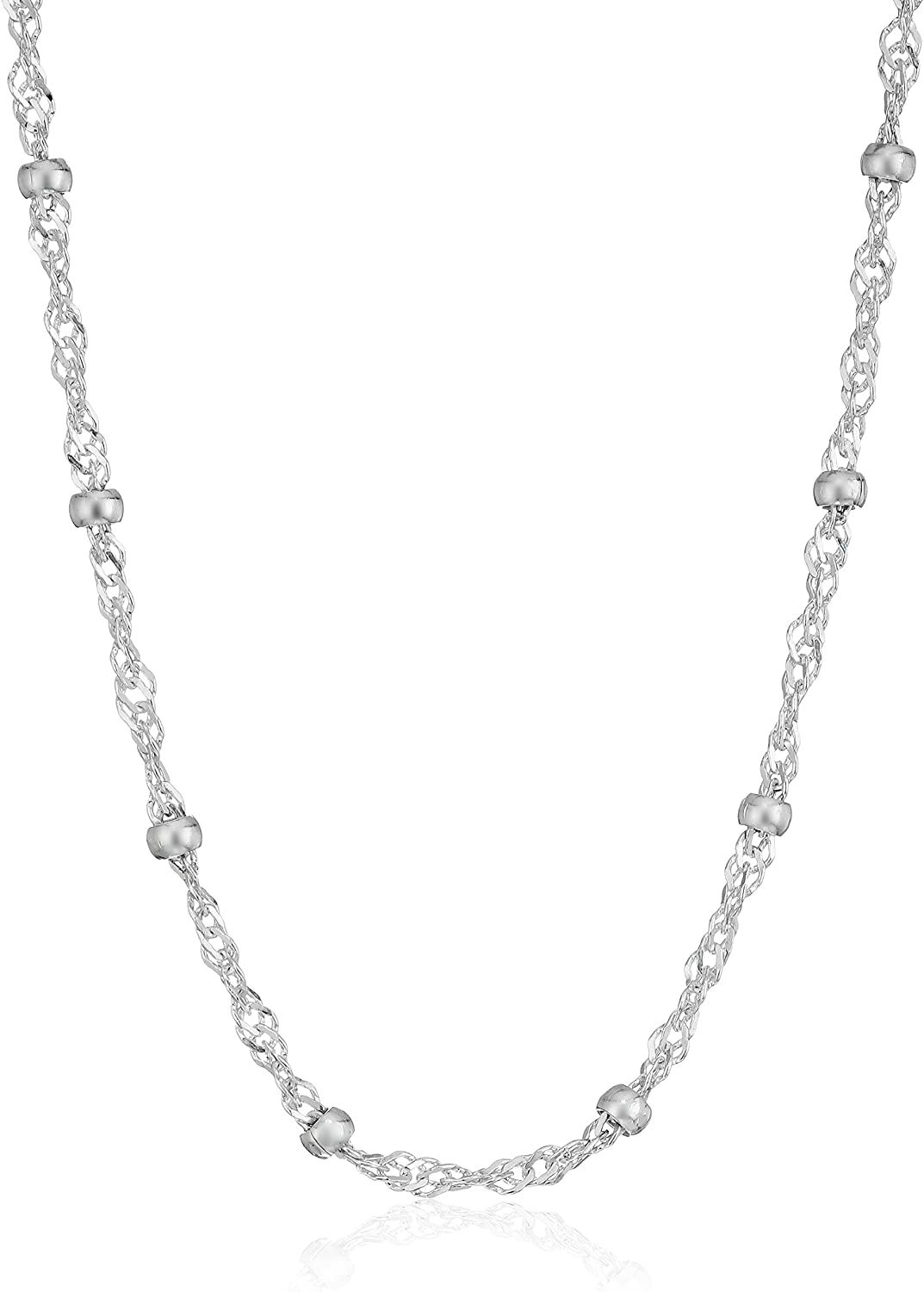 Amazon Essentials Sterling Silver Singapore Bead Chain Station Necklace