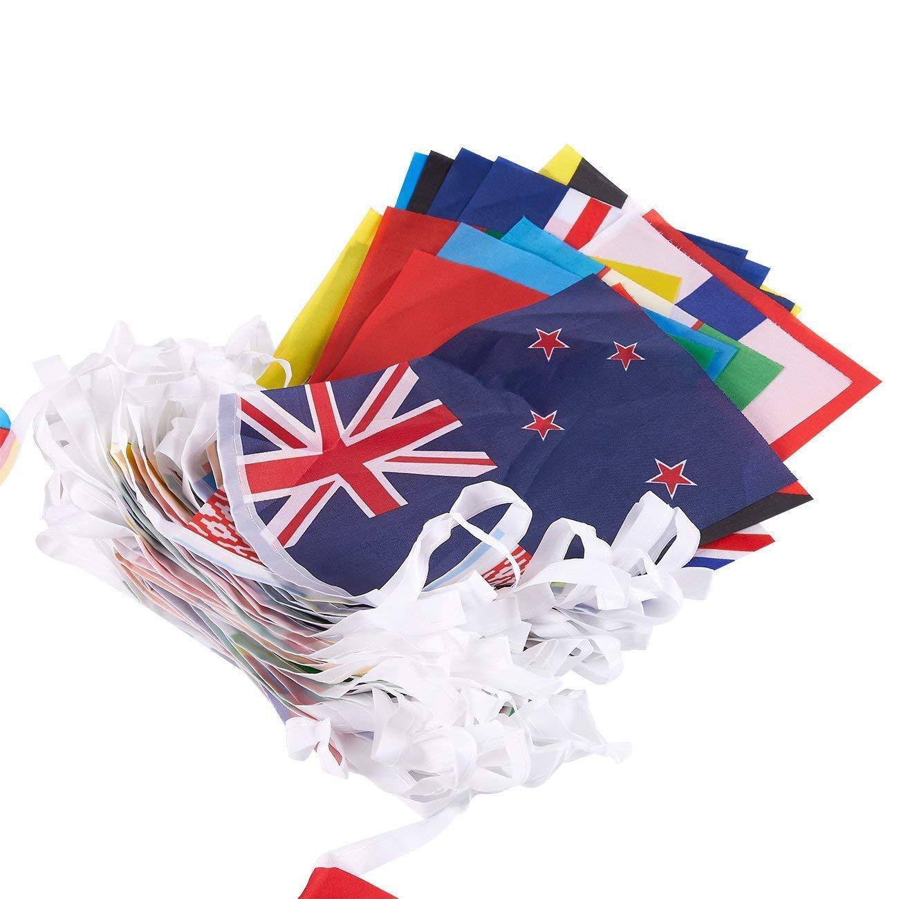 banderas internacionales del mundo cada bandera mide 13,2 x 23,3 cm 24,3 m de longitud Juvale decoraci/ón de fiesta Juego de 100 banderas de pa/íses diferentes varios colores