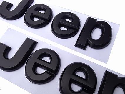 2pcs Flat Matte Black Jeep Emblem Logo Stickers Cherokee Wrangler