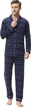 iClosam Pijama Hombre Invierno Algodón Set,Pijamas con Botones Casual Casual Ropa de Dormir Suave y Cómodo Talla S-XXL