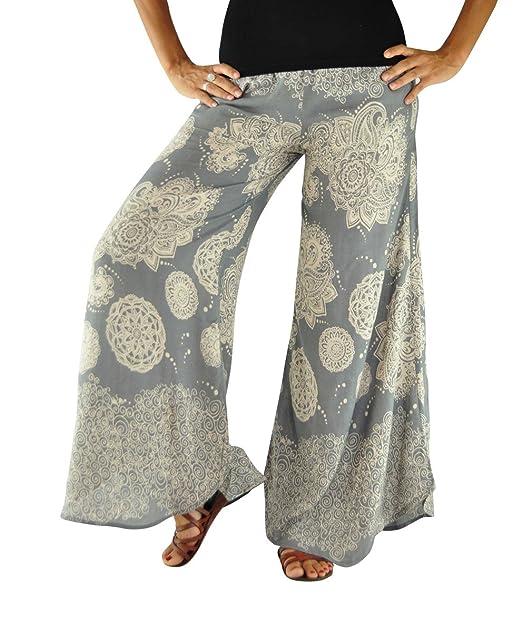 Pantalones Virblatt Para Mujeres Sl Verano Ligeros Pantalon Palazzo Campana Modelados De Un Tamaño Único Como 0N8vnwm