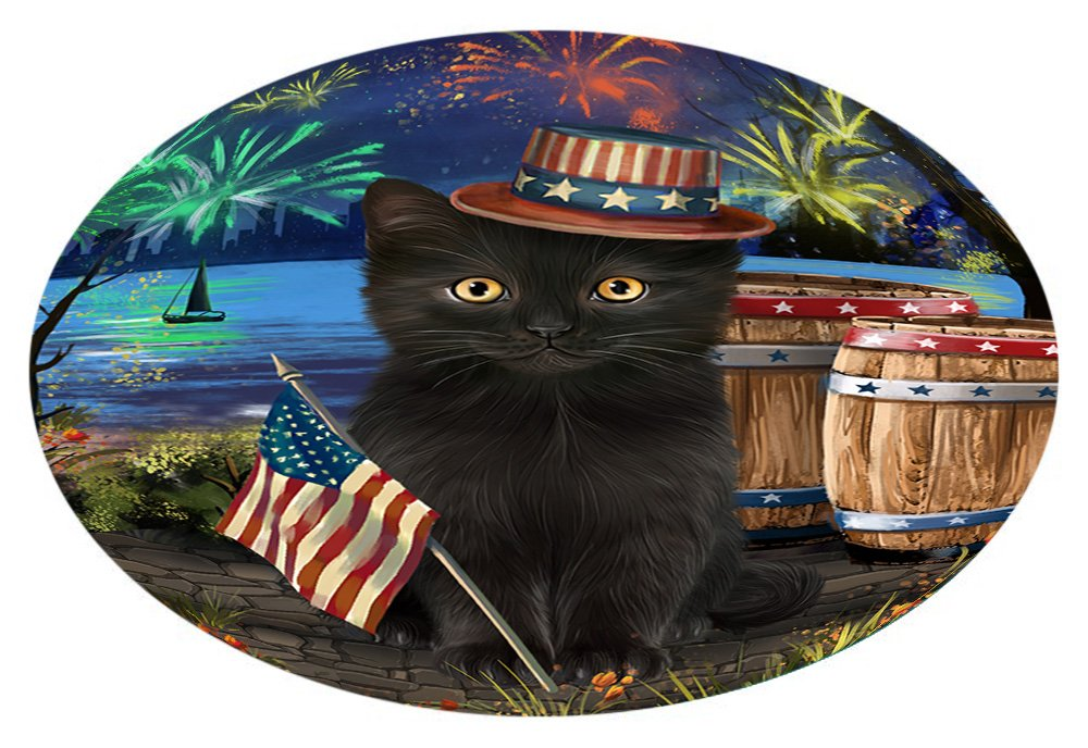 Doggie of the Day 4th of July Independence Day Fireworks Black Cat at the Lake Oval Envelope Seals OVE60400 (50)