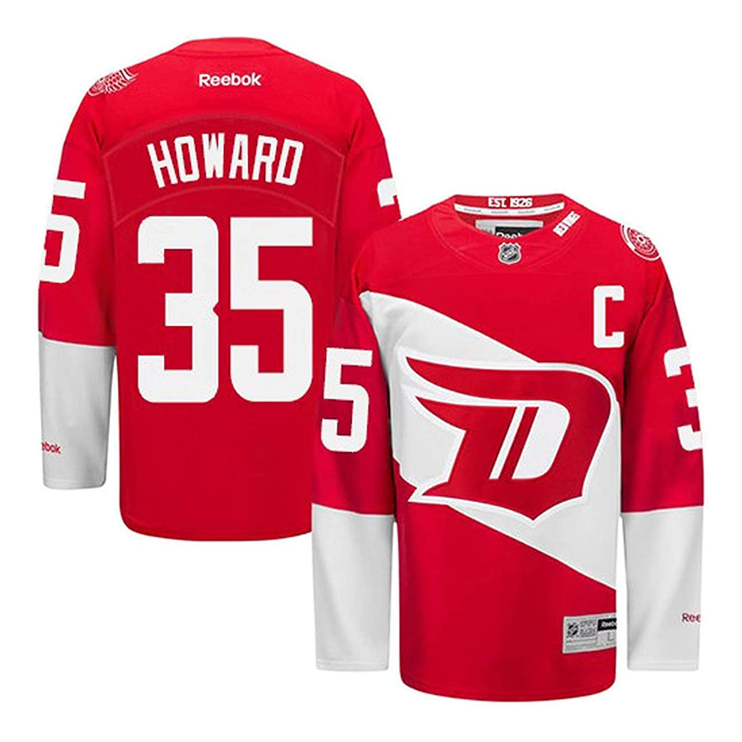 51e1c55a8 Amazon.com  Jimmy Howard Detroit Red Wings  35 Youth Stadium Series Premier Red  Jersey (Large X-Large 14-20)  Clothing