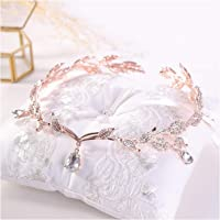 Vintage Crystal Bridal Hair Accessory Wedding Rhinestone Waterdrop Leaf Tiara Crown Headband,Rose Gold