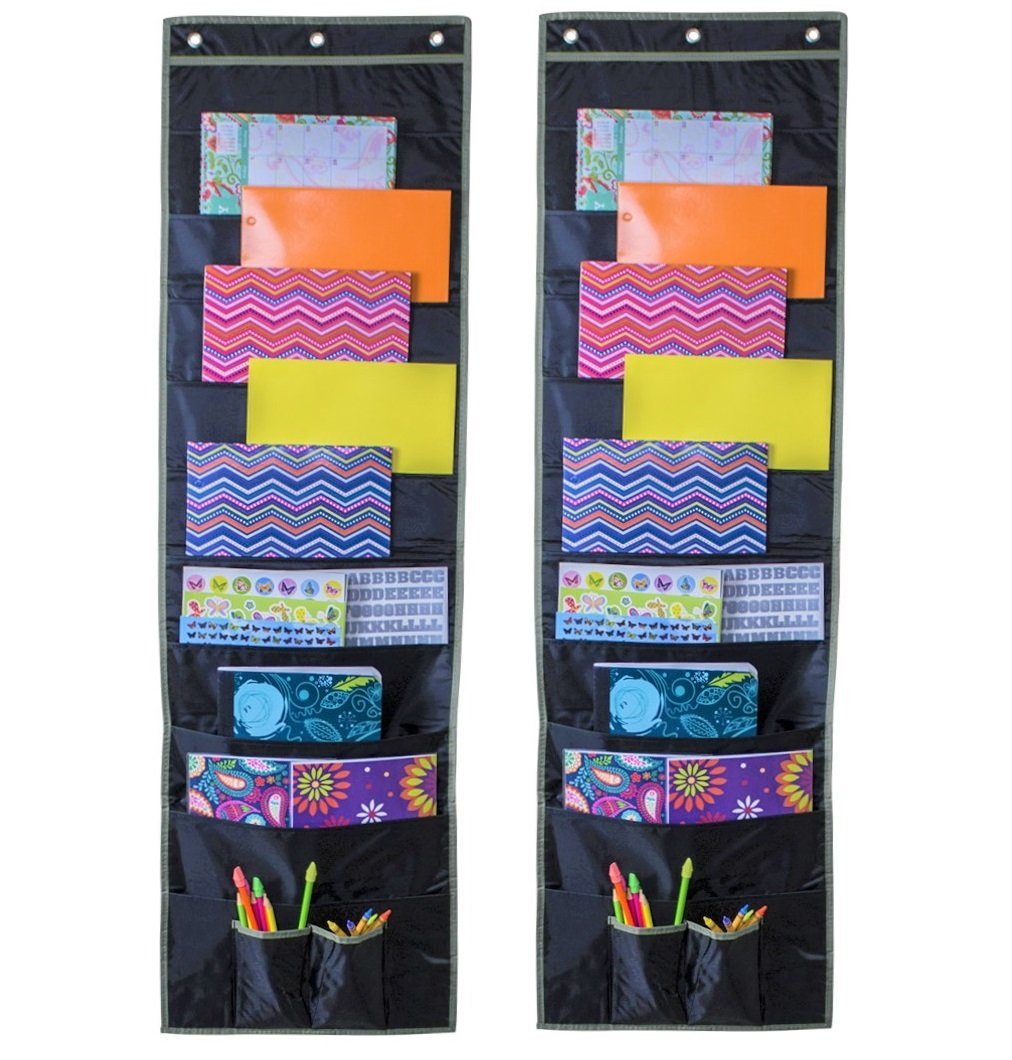Wall Storage Pocket Chart, Hanging File Folder Organizer with 10 Deep Pockets and Reinforced Seams, Perfect for Office, Classroom, and Bedroom (2 Pack 10 Pocket)