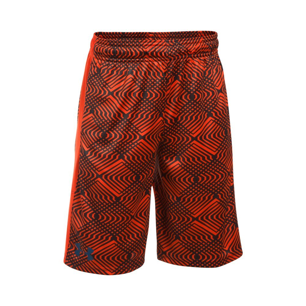 Under Armour Boys' Instinct Printed Shorts, Dark Orange /Blackout Navy Youth X-Small by Under Armour
