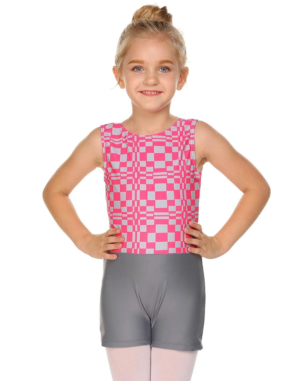 Zaclotre Girls Basic Gymnastics Sleeveless Colorful Stripe Leotard