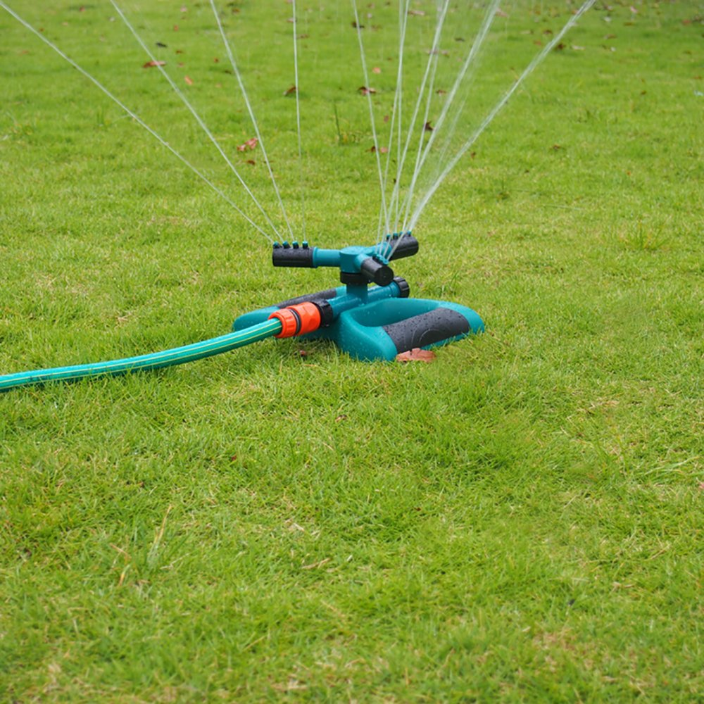 FOME 360 Degree Automatic Rotating Garden Hose Sprinklers Adjustable Series Connection Garden Sprinkler for Lawns Outside 3 Arm Nozzle Water Sprinklers Water up to 50-75 SM Coverage Lawn Sprinkler