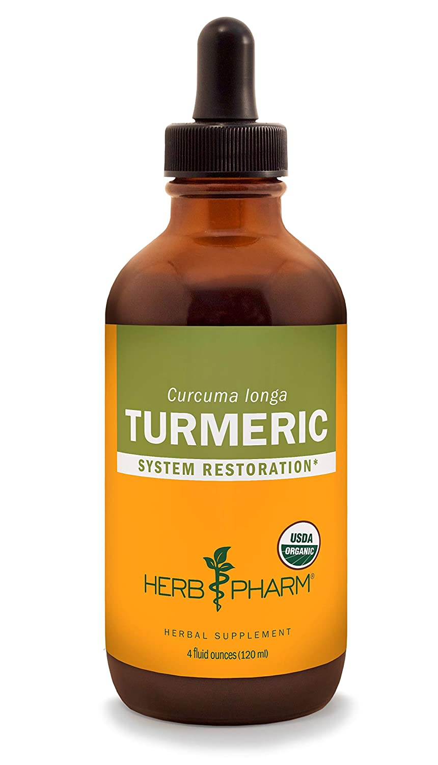 Herb Pharm Certified Organic Turmeric Root Liquid Extract for Musculoskeletal System Support – 4 Ounce