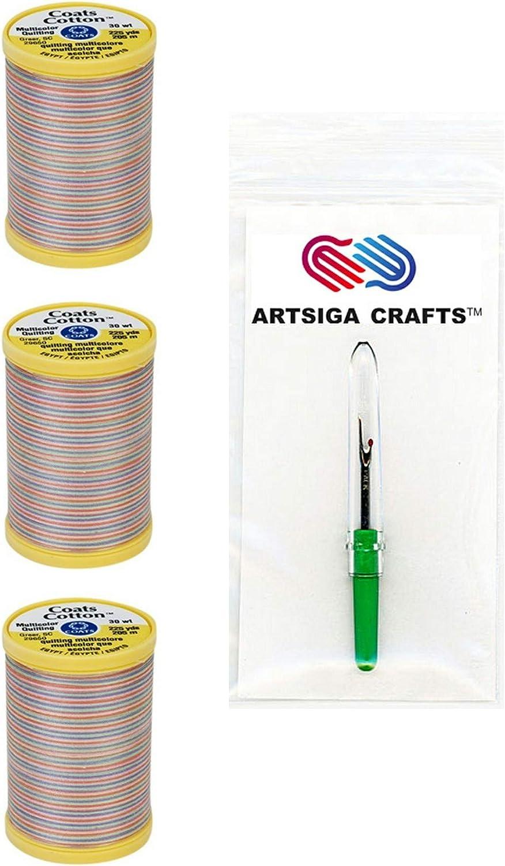 Coats /& Clark Sewing Thread Machine Quilting Multicolor Cotton Thread 225 Yards Plum Shadows Bundle with 1 Artsiga Crafts Seam Ripper S972-0810-3P 3-Pack