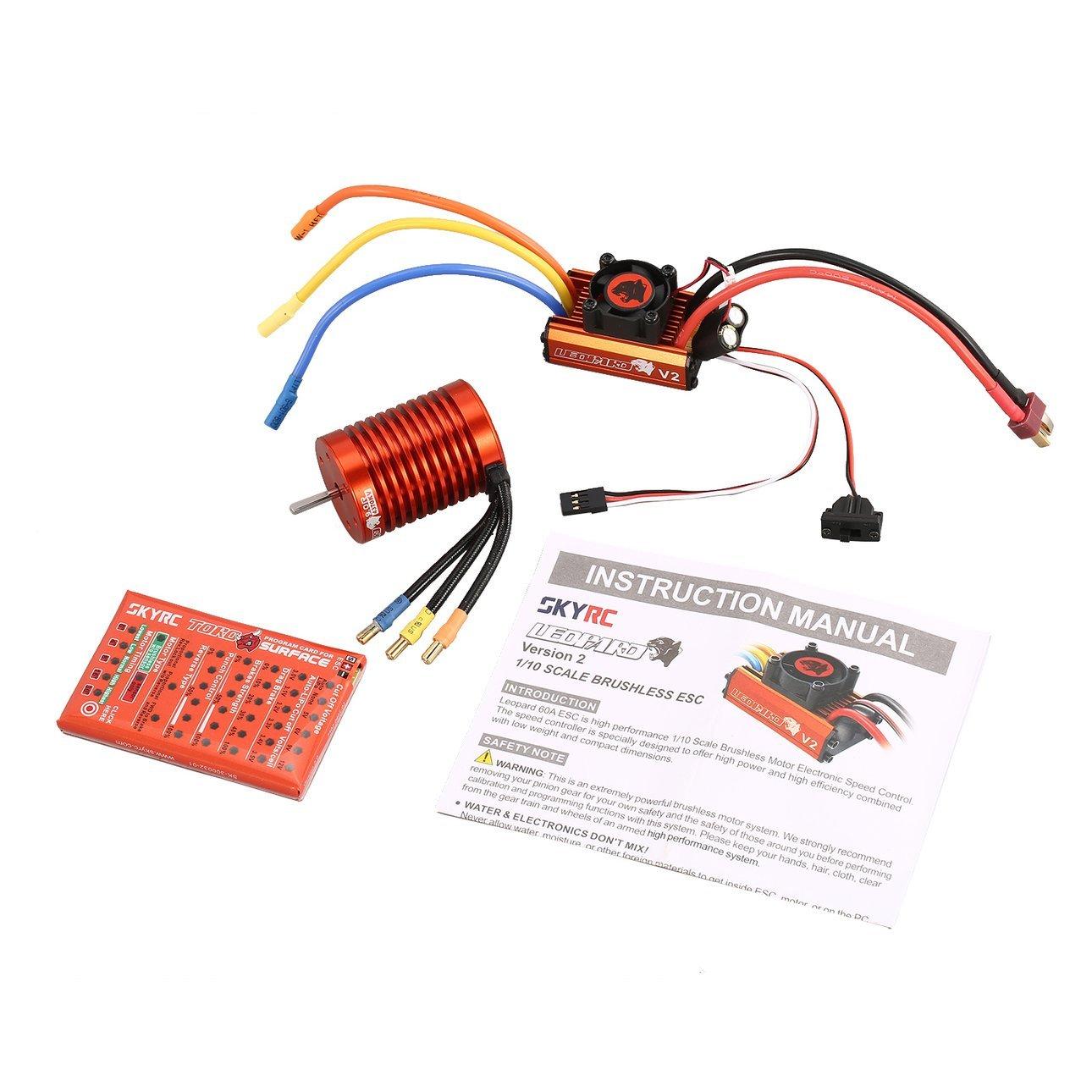 Ballylelly SKYRC 9T 4370KV Brushless Motor 60A ESC Programmierkarte Kit für 1/10 RC Auto