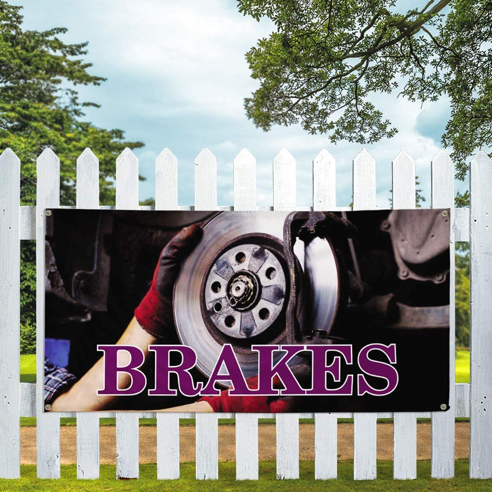 Vinyl Banner Multiple Sizes Brakes A Outdoor Advertising Printing Automotive Outdoor Weatherproof Industrial Yard Signs 10 Grommets 60x144Inches