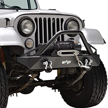 Tidal Stubby Steel Front Bumper with D-Ring Fit for 76-86 Jeep Wrangler CJ