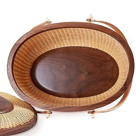 Nantucket basket Picnic Basket woven basket basket storage storage baskets storage basket shelves organizer basket woven storage basket cane basket for Storage Handmade Style Sewing kit Walnut