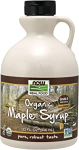 NOW Foods, Certified Organic Maple Syrup, Grade A Dark Color, Certified Non-GMO, Pure, Robust Taste, 32-Ounce