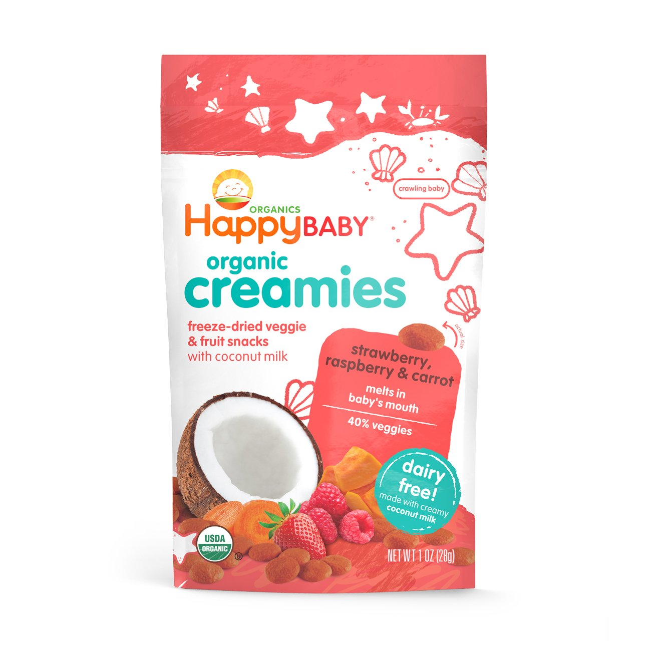 Happy Baby Organic Creamies Freeze-Dried Veggie & Fruit Snacks with Coconut Milk Strawberry Raspberry & Carrot, 1 Ounce Bag (Pack of 8)