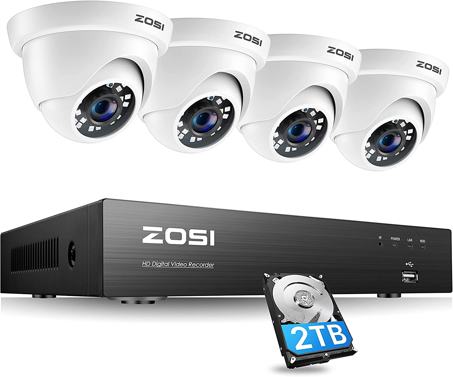 ZOSI 4K Ultra HD Security Cameras System with 2TB Hard Drive, 8Channel H.265+ 4K (3840x2160) Video DVR and 4PCS 4K (8MP) Indoor Outdoor Home Surveillance Dome CCTV Cameras with 150ft Night Vision