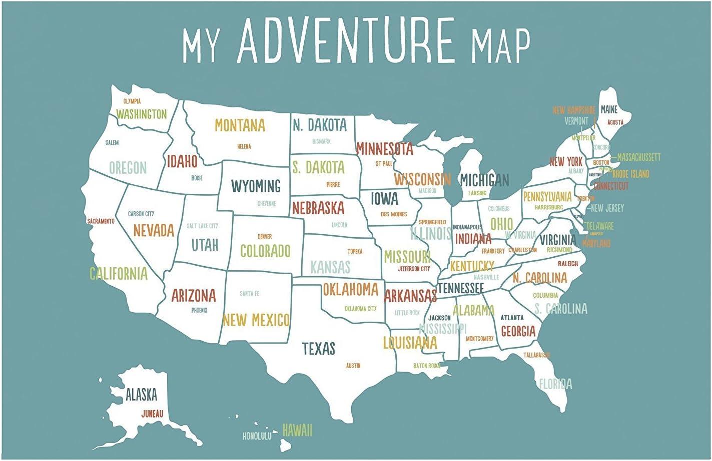 USA Adventure Wall Map Art Print, 11x14 Inch Print, Blue, Kid's USA Wall Map,Children's Room Decor, Gender Neutral Nursery, Travel Nursery Decor,United States of America Map