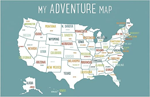 Childrens Map Of The United States Amazon.com: USA Adventure Wall Map Art Print, 11x14 Inch Print