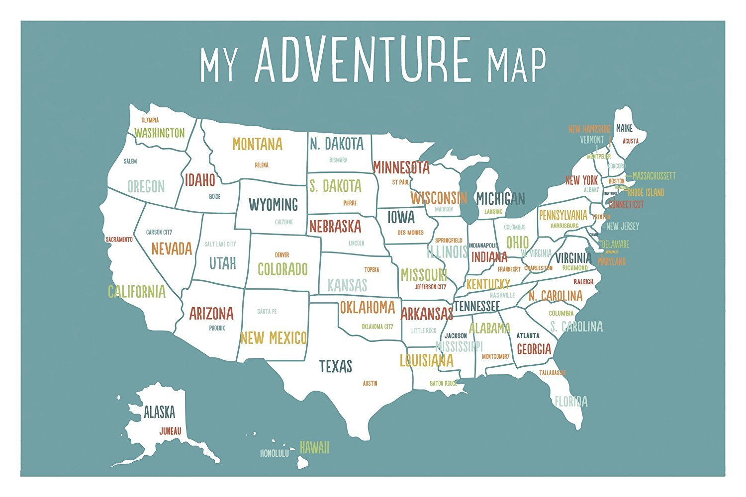 USA Adventure Wall Map Art Print, 24x36 Inch Print, Blue, Kid's USA Wall Map,children's Room Decor, Gender Neutral Nursery, Travel Nursery Decor,united States of America Map