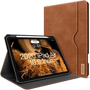 iPad Air 4th Generation Case 2020 New iPad Air 10.9 Inch Case W Pencil Holder PU Leather Folio Stand Smart Cover with Pocket Auto Sleep/Wake[Supports Wireless Charging] (Caramel Brown)
