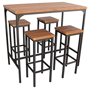 5dad353fe803e Yelloo Table de bar rectangulaire et 4 tabourets marron mod. FIRENZE table  110 x 66 x H 110 cm