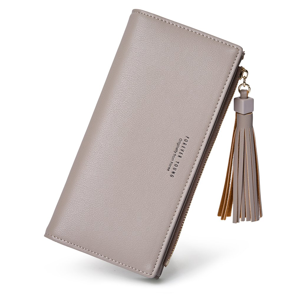 Wallets for Women Fashion Soft Leather Billfold Long Clutch Ladies Credit Card Holder Organizer Purse gray by Romere