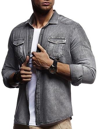 74a383658713e LEIF NELSON Herren Biker Hemden Männer Overshirt Freizeithemden Denim Jeans  Jacke Weste Destroyed Verwaschen Vintage Gesteppt