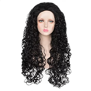 SiYi Anime Long Curly Black Wig for Mens Halloween Cosplay Costume Wigs