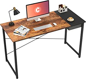 "Cubiker Computer Desk 47"" Home Office Writing Study Laptop Table, Modern Simple Style Desk with Drawer, Rustic Black"