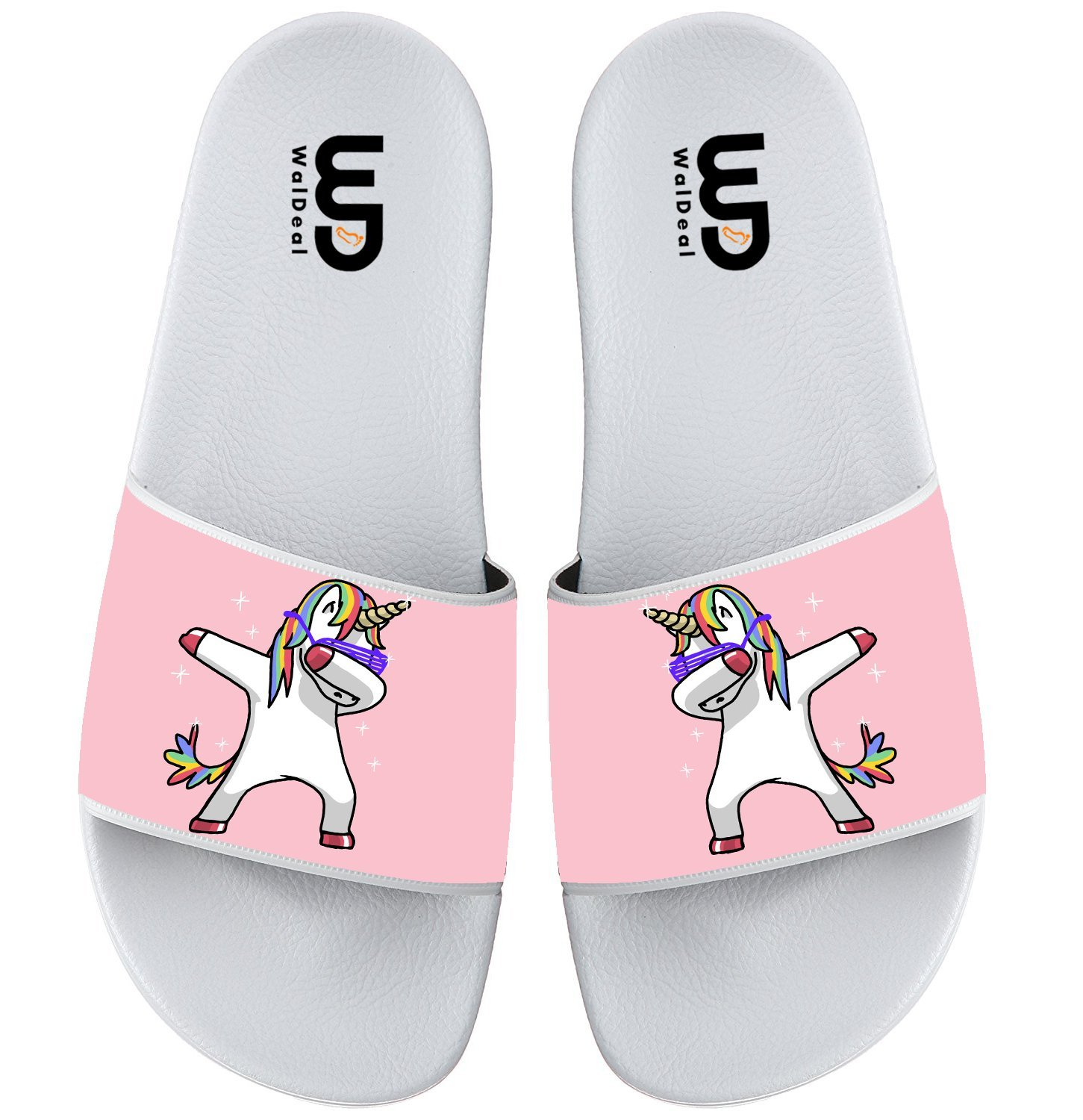Unicorn With Rainbows And Clouds Summer Non-slip Slide Sandals Home Shoes Beach Swim Flip Flops Indoor and Outdoor Slipper Women Men B075P2Y471 9 B(M) US|Unicorn Dabbing Pink