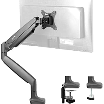 """VIVO Premium Aluminum Height Adjustable Single Monitor Articulating Desk Mount Stand w/Gas Spring Arm Fits up to 32"""" Screen (STAND-V001Q)"""