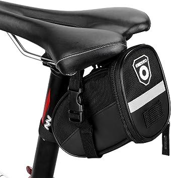 Enkeeo - Bolsa de sillín alforja para bicicleta (Cinta reflectante material, sellado de cremallera) Negro: Amazon.es: Deportes y aire libre