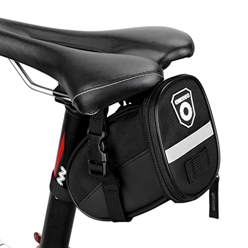 Enkeeo Strap-On Saddle Bike Bag Bicycle Seat Pack Wedge Pack Pouch Splashproof with Straps, Sealed Zipper, Reflective Stripe, Nylon Fabric for Outdoor Cycling (Black)