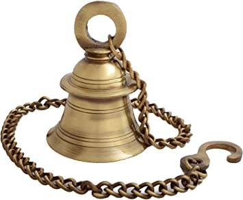 e3335a637d5 Image Unavailable. Image not available for. Colour  Kartique Brass Wall  Hanging Bells for Home Mandir Temple Living Room Decoration Pooja ...