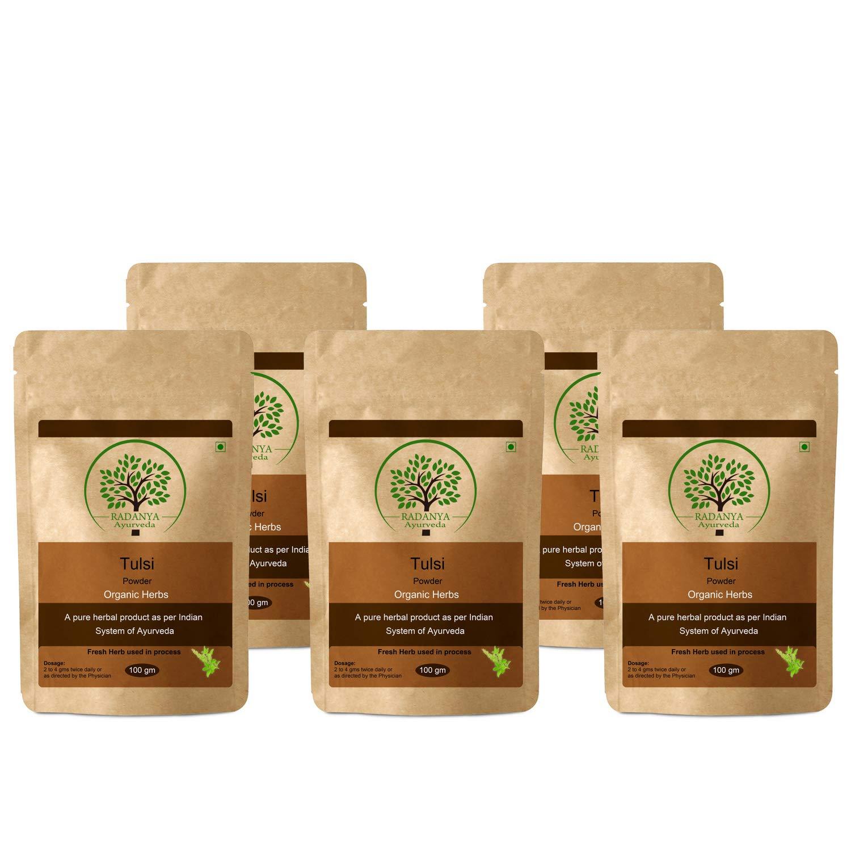 RADANYA Ayurveda Tulsi Powder 100 Gram - Indian Pure Natural Essential Organic Herbal Supplement Powder - Pack of 5 by RADANYA Ayurveda