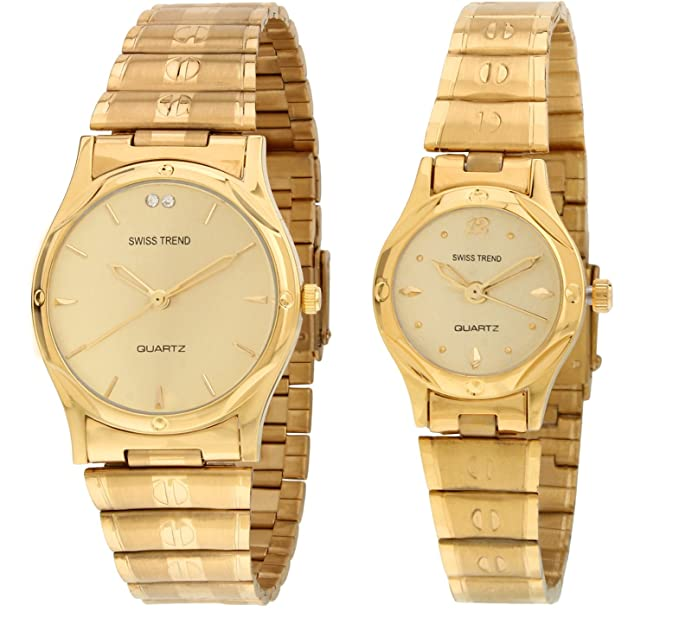Analogue Gold Dial Men & Women Couple Watch -1736