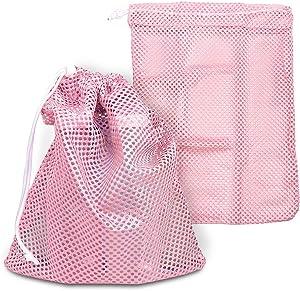 2 PCs Mesh Bags,Sturdy Durable Heavy Duty Laundry Nylon Mesh Stuff Sack Pointe Shoe Bag With Sliding Drawstring Cord Lock Closure Mesh Bag