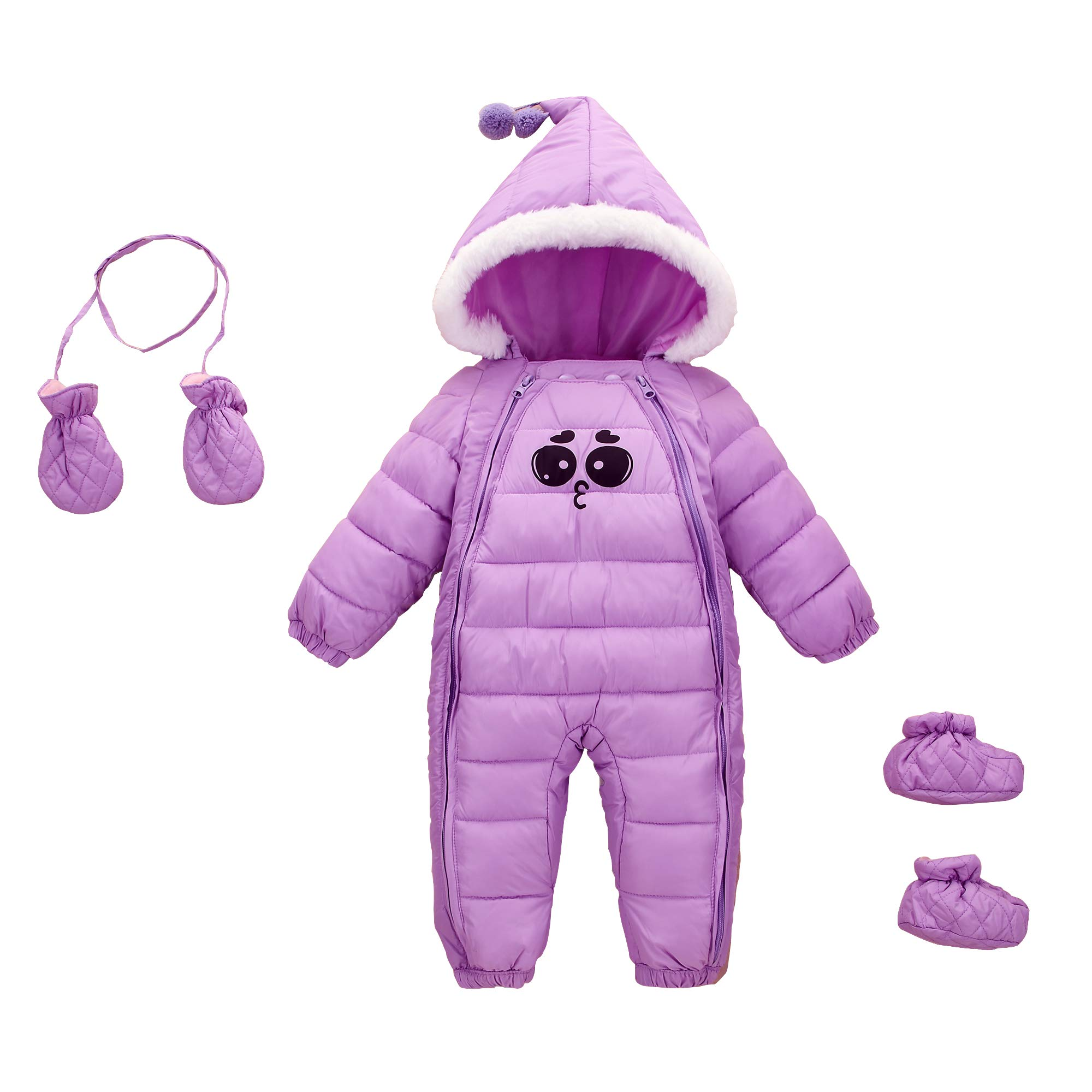 Toddler Winter Romper Jumpsuit Onesies Baby Girls Hoodie Down Cotton Snowsuit All in One Down Coat 12-24 Months Purple by Mumuzhu