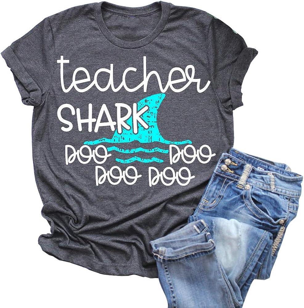 Anbech Womens Teacher Shark doo doo Shirt Short Sleeve Funny Graphics Blouse Tops