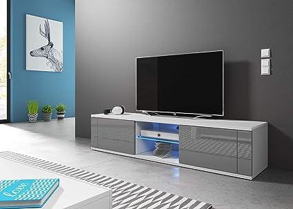 Illuminazione LED 30x100x36 cm Vivaldi Mobile Porta TV Hit 2 Mobile Basso per TV con scaffale in Vetro Ideale per Salotto Armadietto TV con Pannelli Laminati Nero Opaco e Nero Lucido