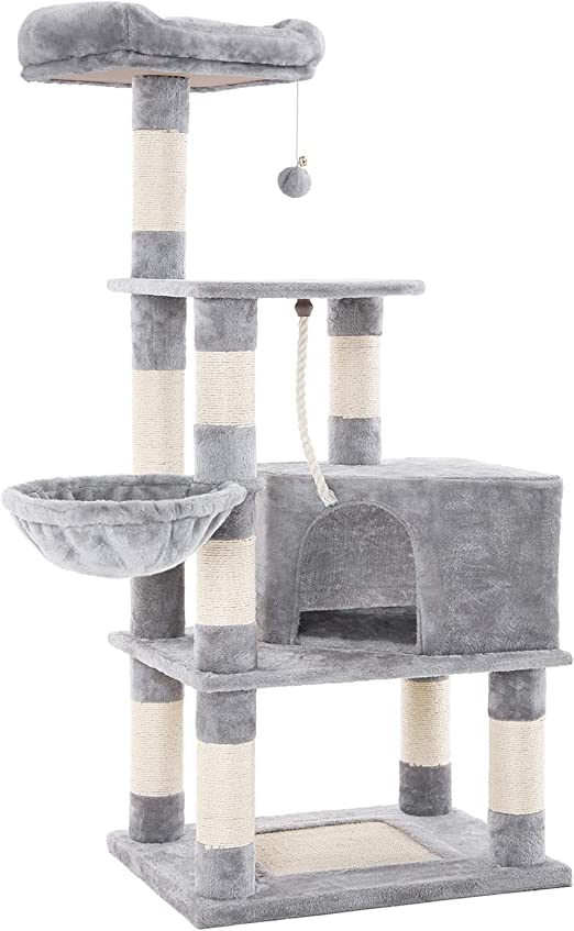 FEANDREA Árbol para Gatos, Rascador Alto para Gatos con Bola de Juego, Cesta Flotante, Caseta y Postes Cubiertos de sisal, Gris Claro PCT60W: Amazon.es: Productos para mascotas