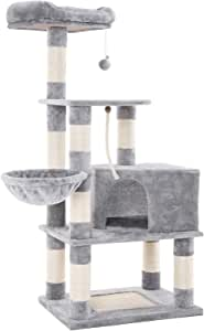 FEANDREA Cat Tree with Scratching Board, Basket Lounger and Large Cave