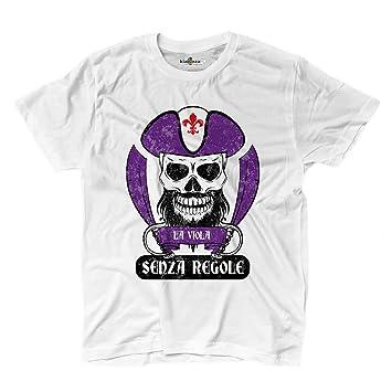 Camiseta camiseta hombre fútbol pirata Firenze Morado Tifosi ultras Fans Sport Senz, blanco, Small